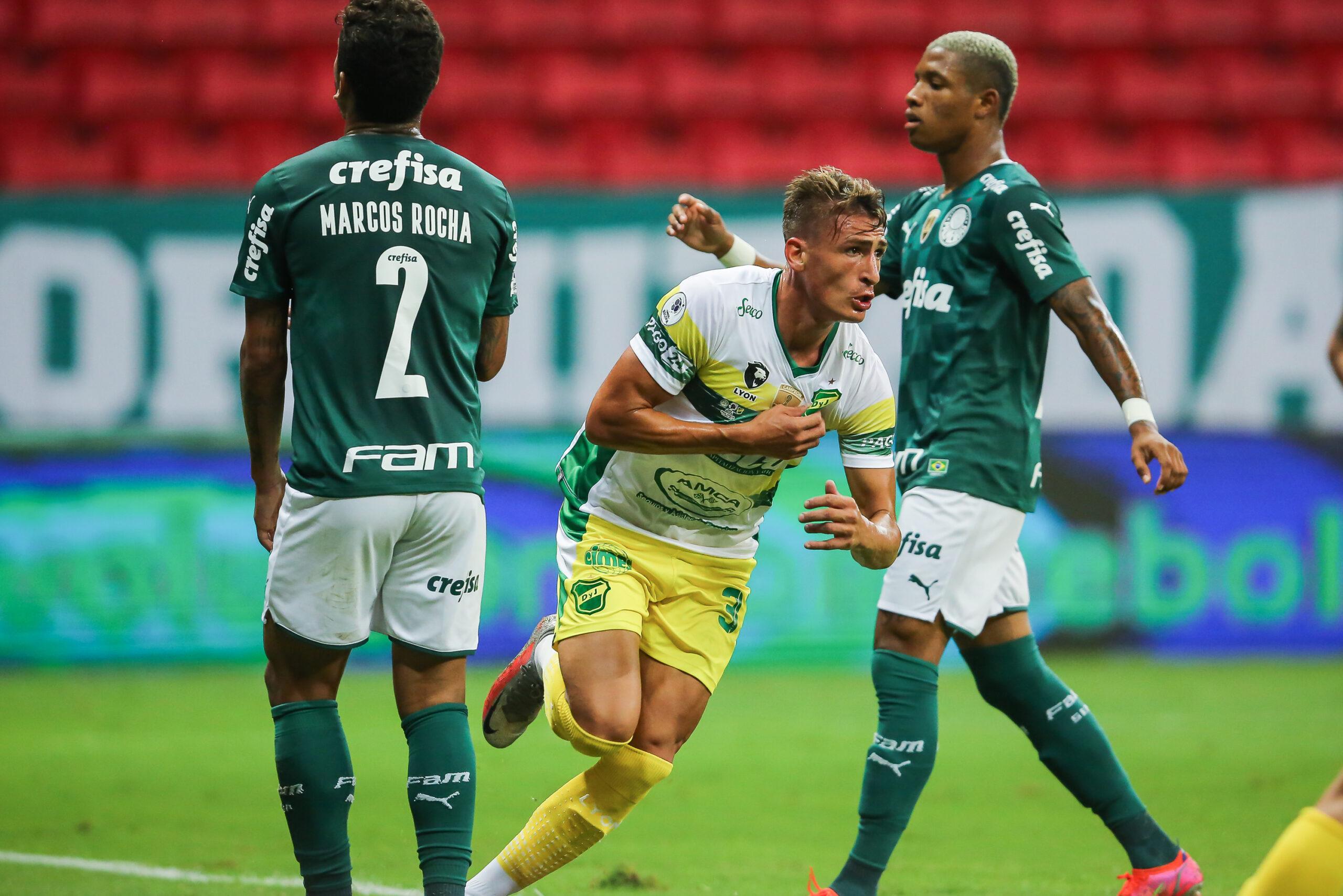 Argentino do Defensa y Justiça comemora após marcar no Palmeiras (Foto: Divulgação)